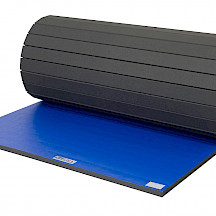 "Partially rolled 6' x 42' x 1-5/8"" Wrestling Mat section"
